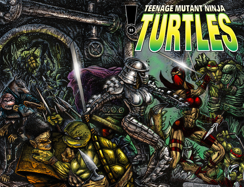 The cover for Issue 25 as pencilled by Frank Fosco and inked by Kevin Eastman.